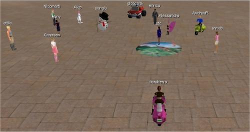 La piazza della scuola3d piena di gente